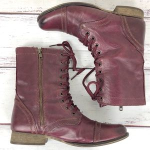 STEVE MADDEN Burgundy Troopa Combat boots 9.5